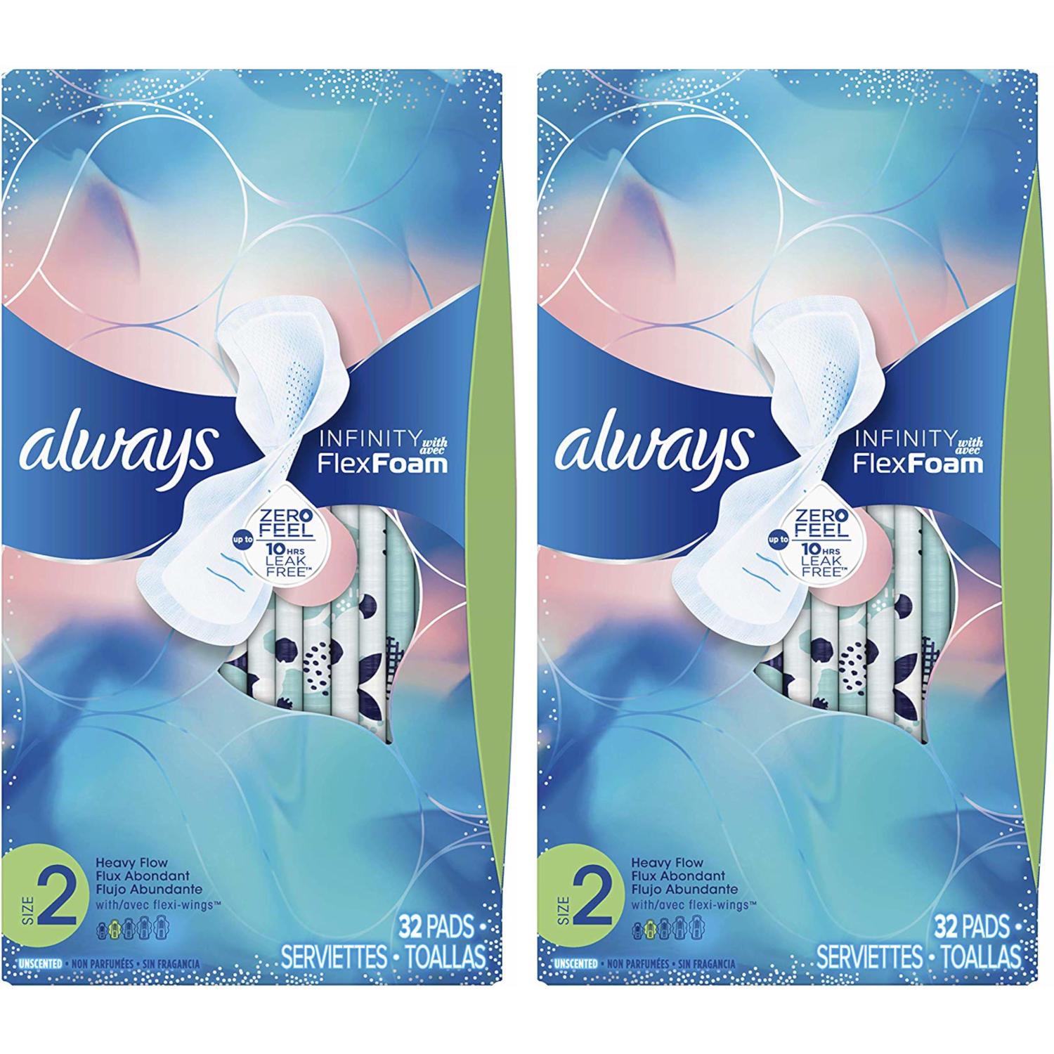 2 Pack Always Infinity Size 2 Super Pads w/ Wings, Unscented, 32 Each