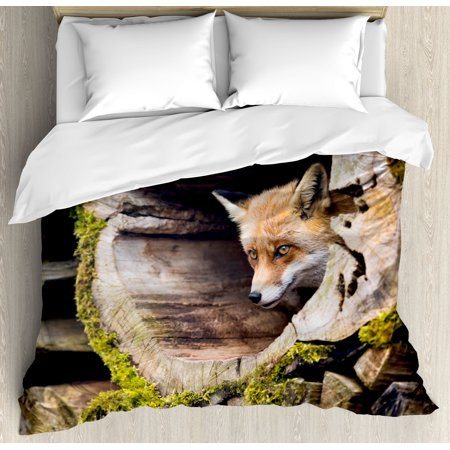 Forest Animal Set (Animal Duvet Cover Set, Forest Nature Wild Fox with Hazel Eyes in a Wooden Carved Tree wth Moss Art Print, Decorative Bedding Set with Pillow Shams, Multicolor, by Ambesonne)