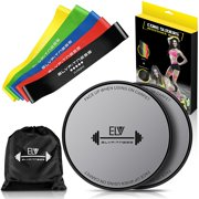ELV Resistance Rubber Loop Bands and Exercise Sliders Personal Fitness Rehab Set |5  Resistant Bands + 2 Gliding Discs|