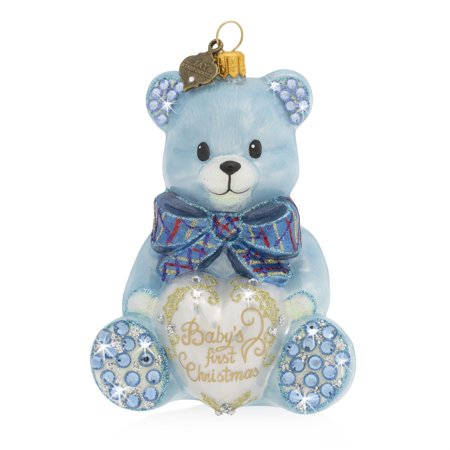 Jay Strongwater - Glass Holiday Ornament - Baby's First Christmas Teddy - Blue