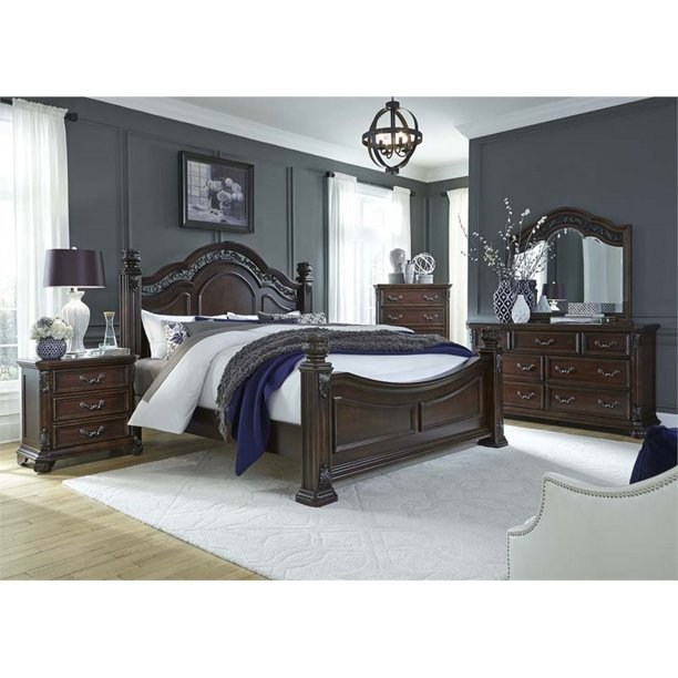 Liberty Furniture Messina Estates 5 Piece King Poster Bedroom Set Walmart Com Walmart Com
