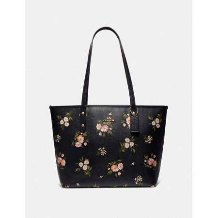 Coach City Zip Tote in Canvas Tossed Daisy Print Black