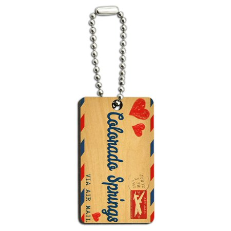 Air Mail Postcard Love for Colorado Springs Wood Rectangle Key Chain