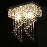 Surpars House Flush Mount 2-Light Crystal Chandelier, Length:15' Width:7.87' Height:15.3',Silver