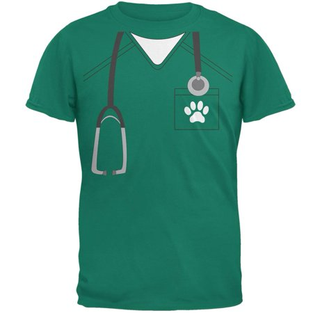 Halloween Vet Veterinarian Scrubs Costume Jade Green Adult T-Shirt (Halloween Shoes)