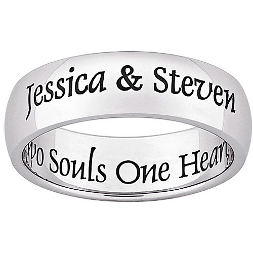 Personalized Two Souls Engraved Message Stainless Steel Band