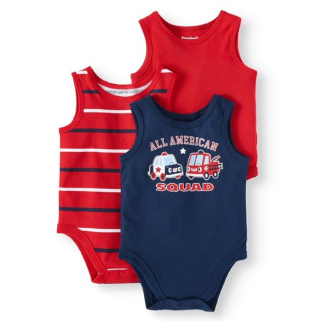 Graphic, Stripe & Solid Tank Bodysuits, 3pc Multi-Pack (Baby Boys)