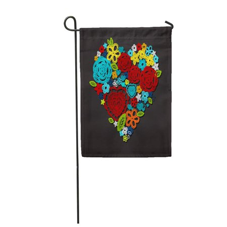LADDKE Valentine Heart Knitted Flowers Embroidery Lace Crochet Items with Ethnic Garden Flag Decorative Flag House Banner 12x18 inch