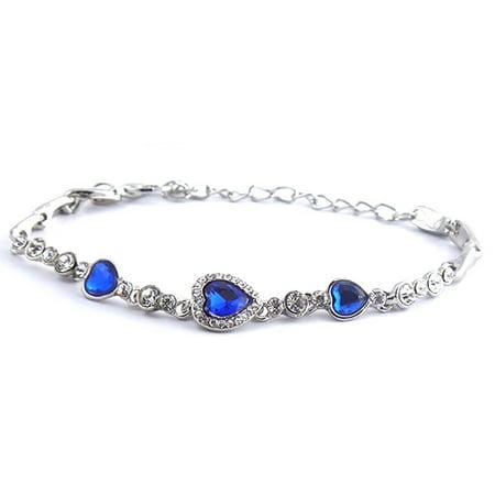 Elegant Sapphire Blue Heart Bracelet - Blue Glow Bracelets