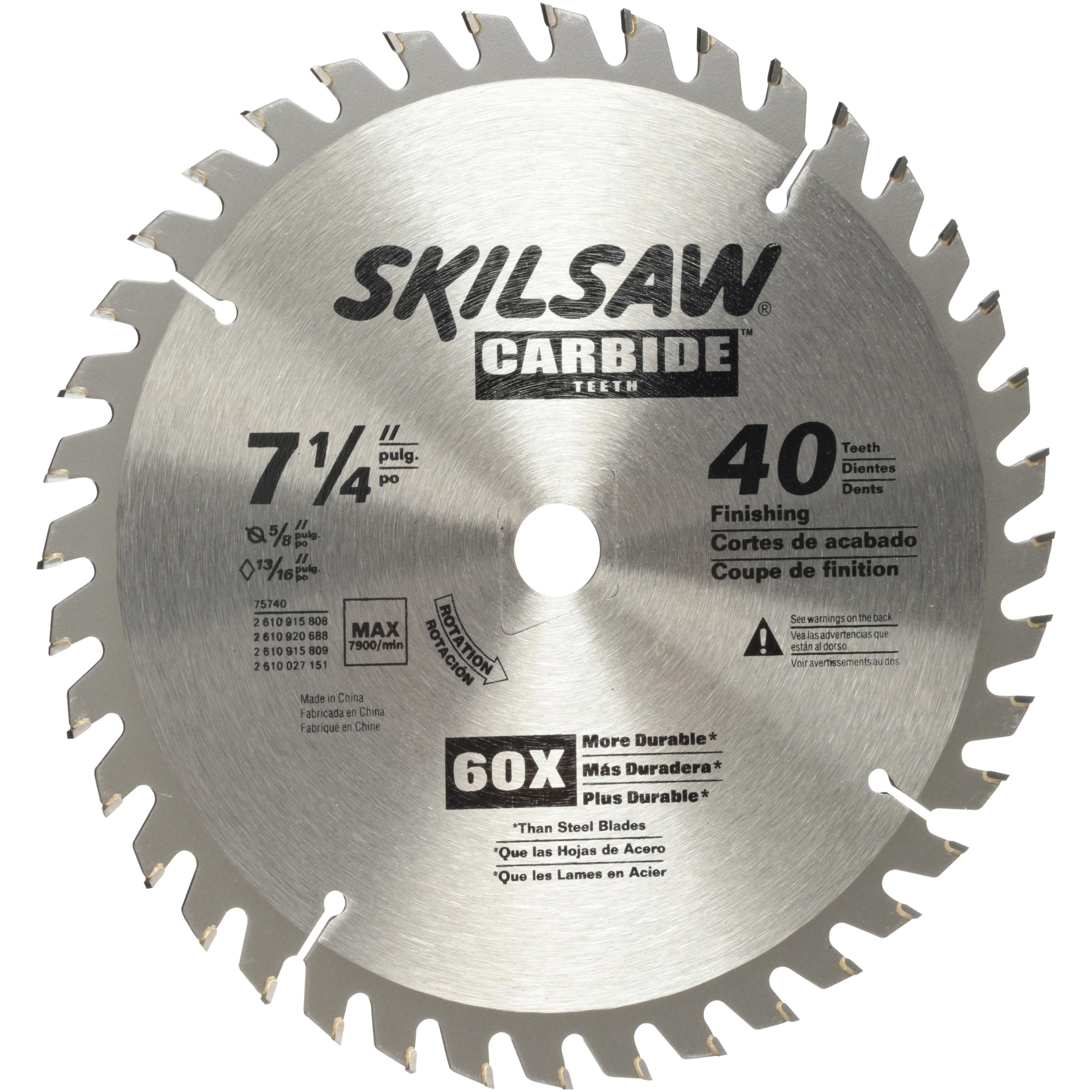 SKIL 7-1/4-Inch 40-Tooth Carbide Tipped Circular Saw Blade, 75740W