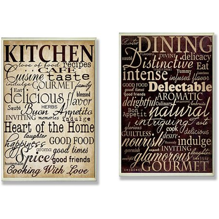 Stupell Dining Words' and 'Kitchen Words' 2-piece Typography Kitchen Wall Plaque Set - Brown