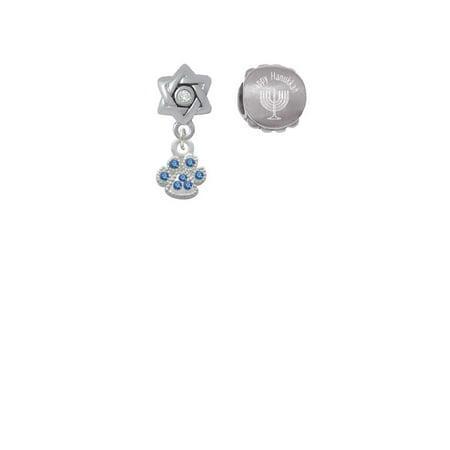 Silvertone Mini Paw with Blue Crystals Happy Hanukkah Charm Beads (Set of 2) Crystal Blue Mini Set