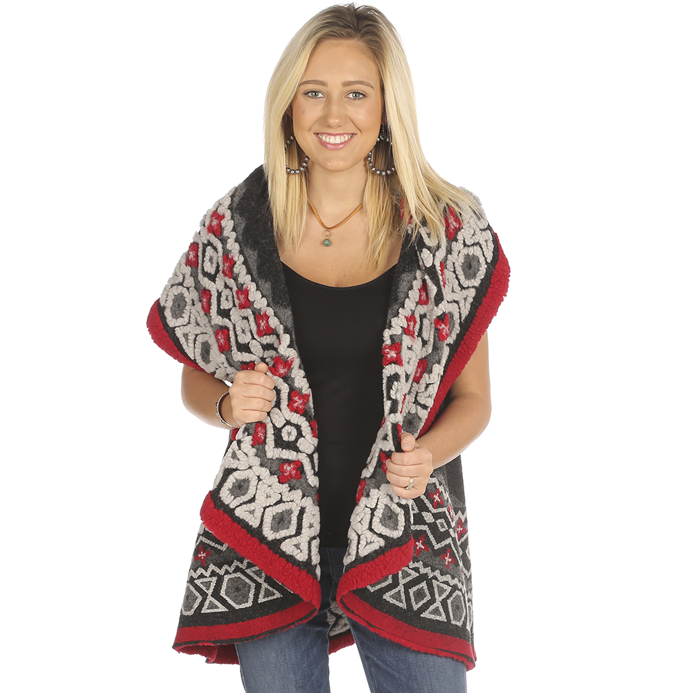 Montanaco Womens Faux Wool Printed Vest OS Grey by Womens Wool Coats