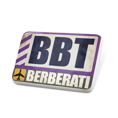 Porcelein Pin Airportcode Bbt Berberati Lapel Badge   Neonblond