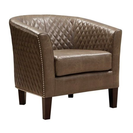 Pemberly Row Faux Leather Accent Chair In Brown Walmart