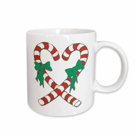 3dRose Heart Shaped Candy Canes - Ceramic Mug, 11-ounce - Candy Cane Heart
