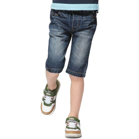 LEO&LILY Boys Kids Elastic Waist Regular Fit Stretch Denim Shorts Jean (8, DK)