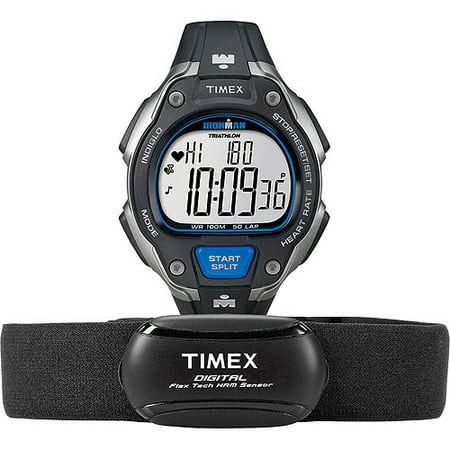 Timex Men's Ironman Road Trainer Digital Heart Rate Monitor Watch, Resin Strap + Chest Strap Sensor