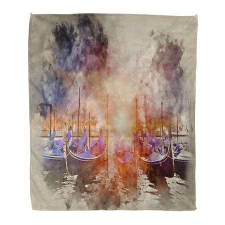LADDKE Throw Blanket Warm Cozy Print Flannel Watercolor Painting of Gondolas at San Marco Venice Italy with Sunburst Comfortable Soft for Bed Sofa and Couch 58x80 Inches ()