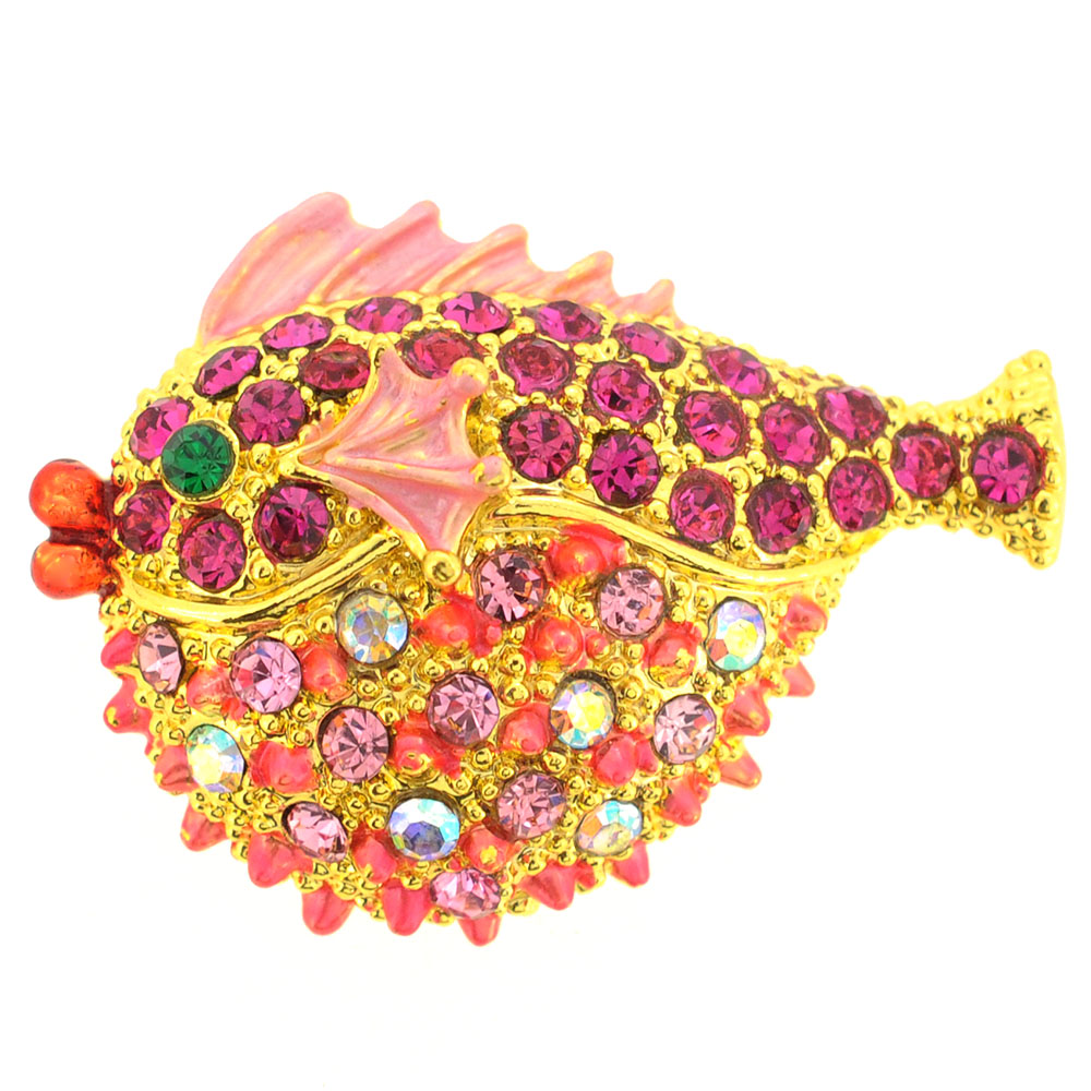 Pink Fish Crystal Brooch Pin by