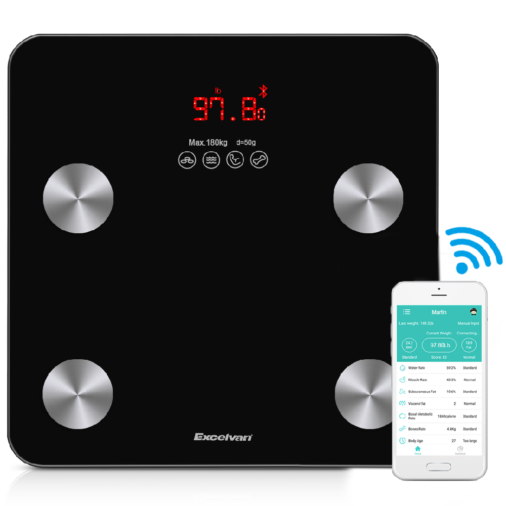 Body Fat Scale, Excelvan Bluetooth Digital Weight Scale 400 lbs with BMI Body Fat Composition Analyzer, Large Display, Smart Bathroom Wireless Weight Scale Work with iOS and Android