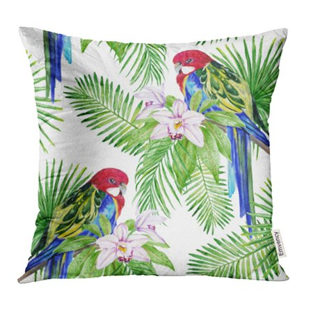 YWOTA Colorful Rosella Parrot Tropical Leaves and Exotic Flowers Watercolor Good Green Pillow Cases Cushion Cover 18x18 inch