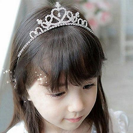 Heepo Kid Girls Elegant Heart Rhinestone Embedded Bridal Princess Tiara Crown - Child Tiara