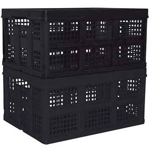 Mainstays Folding Crate, Black, Set of 2