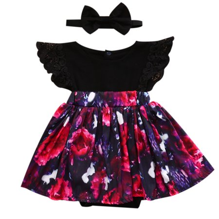 c41a049c06e Sister Matched Floral Outfits Baby Girls Sleeveless Lace Romper Jumpsuit  Dress
