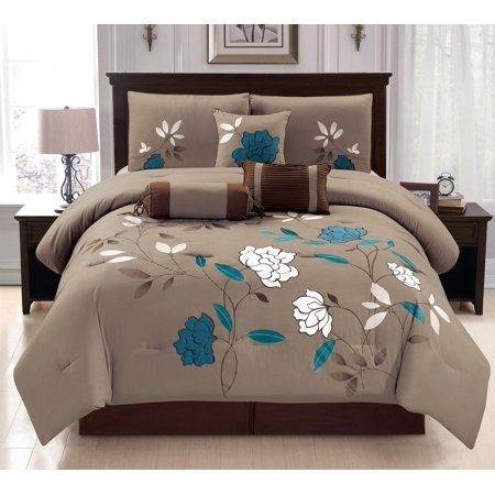 Unique Home 7 Piece Damaris Ruffled Bed In A Bag Clearance bedding  Comforter Duvet Set Fade Resistant, Super Soft, Size:Calking ...