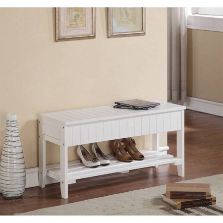 Roundhill Solid Wood Storage Shoe Bench Multiple Colors