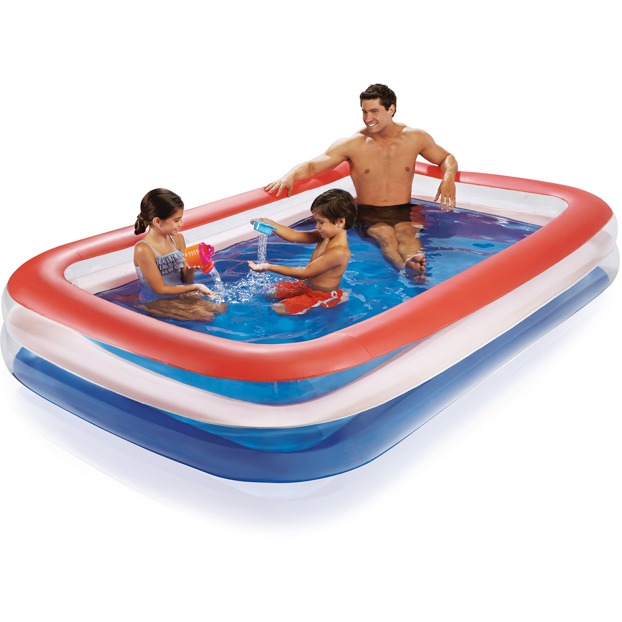 Play Day Color Transparent Family Pool, Red