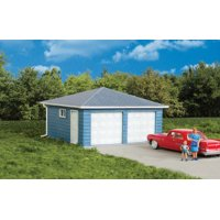 """two-car garage -- kit - 3-1/8 x 3-1/8 x 2"""" 7.9 x 7.9 x 5cm over eaves"""