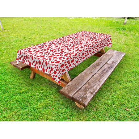 Abstract Outdoor Tablecloth, Red Polka Dots on White Background Bubble Like Design Modern Pattern Print, Decorative Washable Fabric Picnic Table Cloth, 58 X 84 Inches,Vermilion White, by Ambesonne (Red Polka Dot Tablecloth)