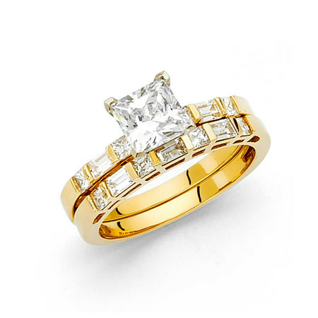 14k Yellow Italian Solid Gold 1.50ctw Princess Cut & Baguette CZ Bridal Engagement Wedding Band Duo Sets Ring Size 6 Available All Sizes (Tiffany Gold Princess Cut Rings)