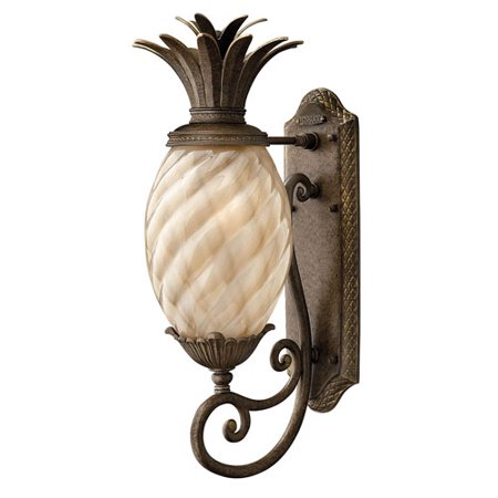 Fleur Pearl Bronze Eight-Inch One-Light Outdoor Wall Mount with Amber (Pearl Glass Wall)