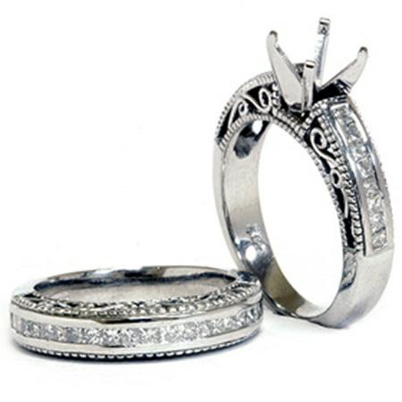 (White Gold 7/8ct Princess Cut Diamond Engagement Mount 14K Ring)