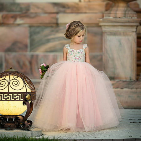 Flower Girls Dress Lace Princess Party Wedding Bridesmaid Dress Long Sundress Hot Sale - image 1 of 5