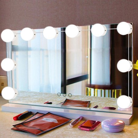 WALFRONT 10Pcs LED Makeup Comestic Mirror Light Kit with Dimmable Light Bulb, Cosmetic Mirror Light, Makeup Mirror Light