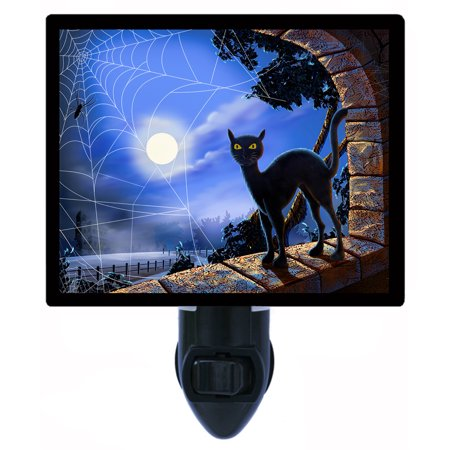 Night Light - Photo Light - Window Decorations - Halloween Black Cat - Halloween Is Black As Night Chords