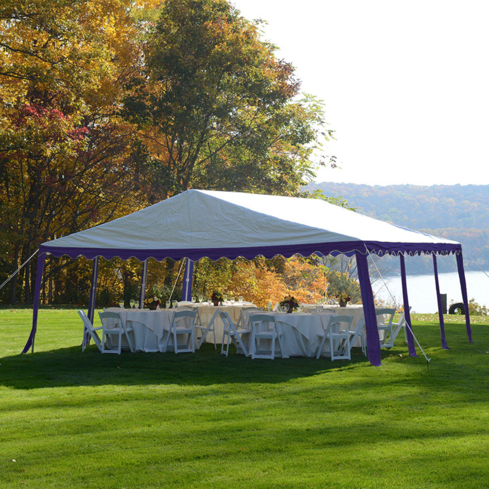 Party Tent, 20' x 20'/6m x 6m, Blue/White