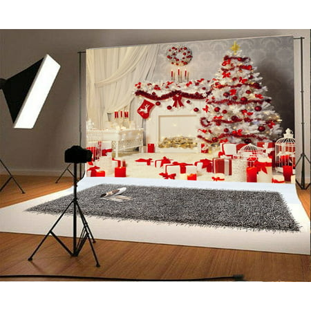 HelloDecor Polyester 7x5ft Merry Christmas Backdrops Photography Backdrop Xmas Decoration Tree Gifts Fireplace Stocking Garland White Curtain Lantern Interior H ()