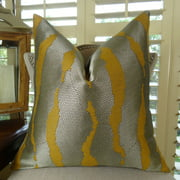 Thomas Collection Grey Mustard Gold Textured Throw Pillow - 11023