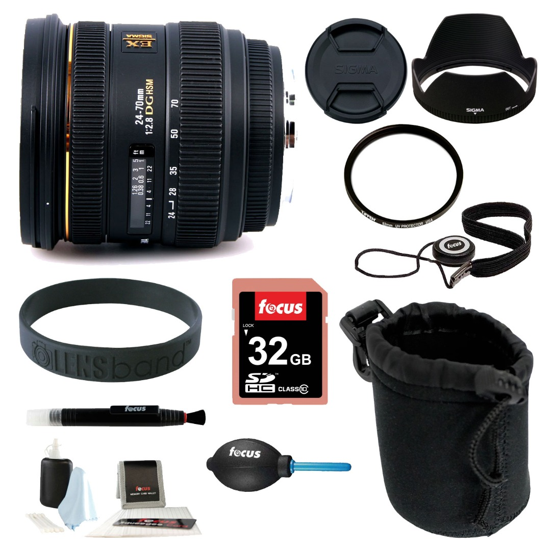 Sigma 24-70MM F/2.8 IF EX DG HSM Zoom SLR Camera Lens for Nikon AF with 32GB Deluxe Accessory Kit
