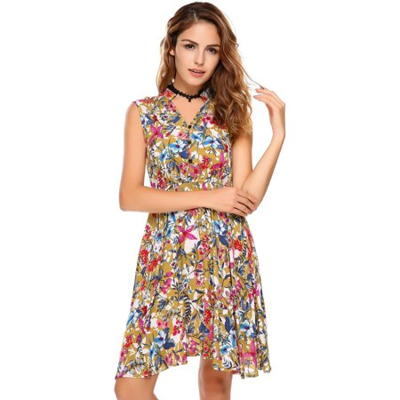 Women Dress Sleeveless Vintage Lace Patchwork O Neck Bohemian Tunic Dress Caroj - image 8 de 8