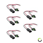 """5pc 2-Wire Weather Pack Connector Kit Assembled with 10"""" 16 AWG Wires"""