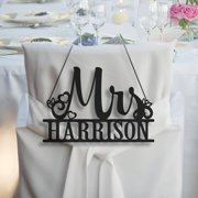 Mrs. Personalized Hanging Black Wood Plaque