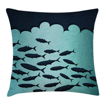 Ocean Animal Decor Throw Pillow Cushion Cover  Surreal Graphic Ornate Swirl Waves And Group Of Fish Nautical Theme  Decorative Square Accent Pillow Case  16 X 16 Inches  Blue Turquoise  By Ambesonne