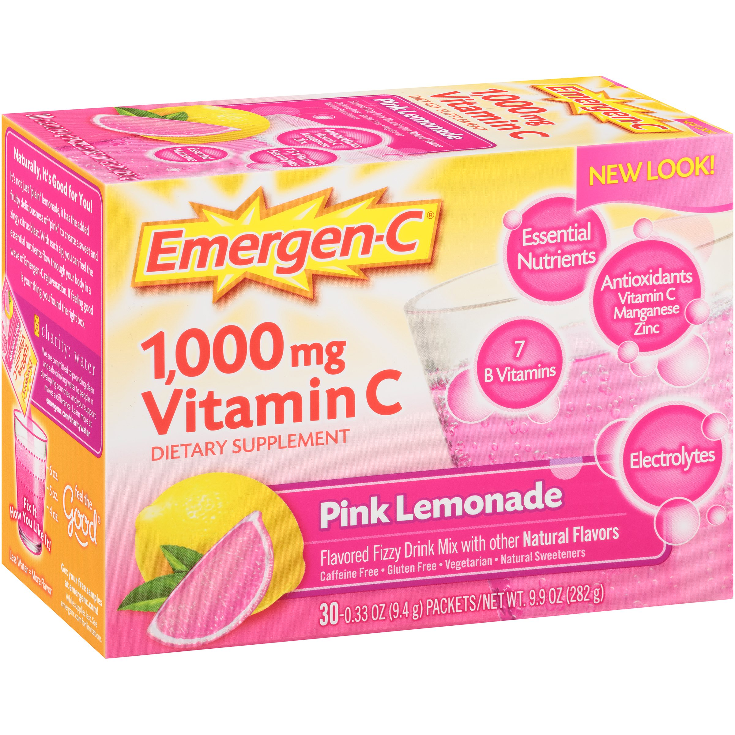 Emergen-C (30 Count, Pink Lemonade Flavor) Dietary Supplement Fizzy Drink Mix with 1000 mg Vitamin C, 0.33 Ounce Packets, Caffeine Free