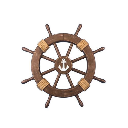 Handcrafted Nautical Decor Ship Wheel with Anchor Wall D cor